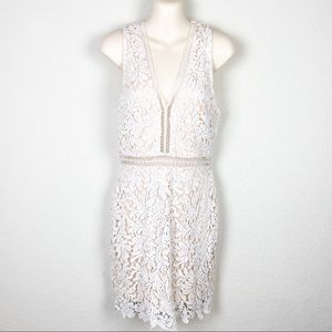 TOBI Cream White Lace Lined Dress